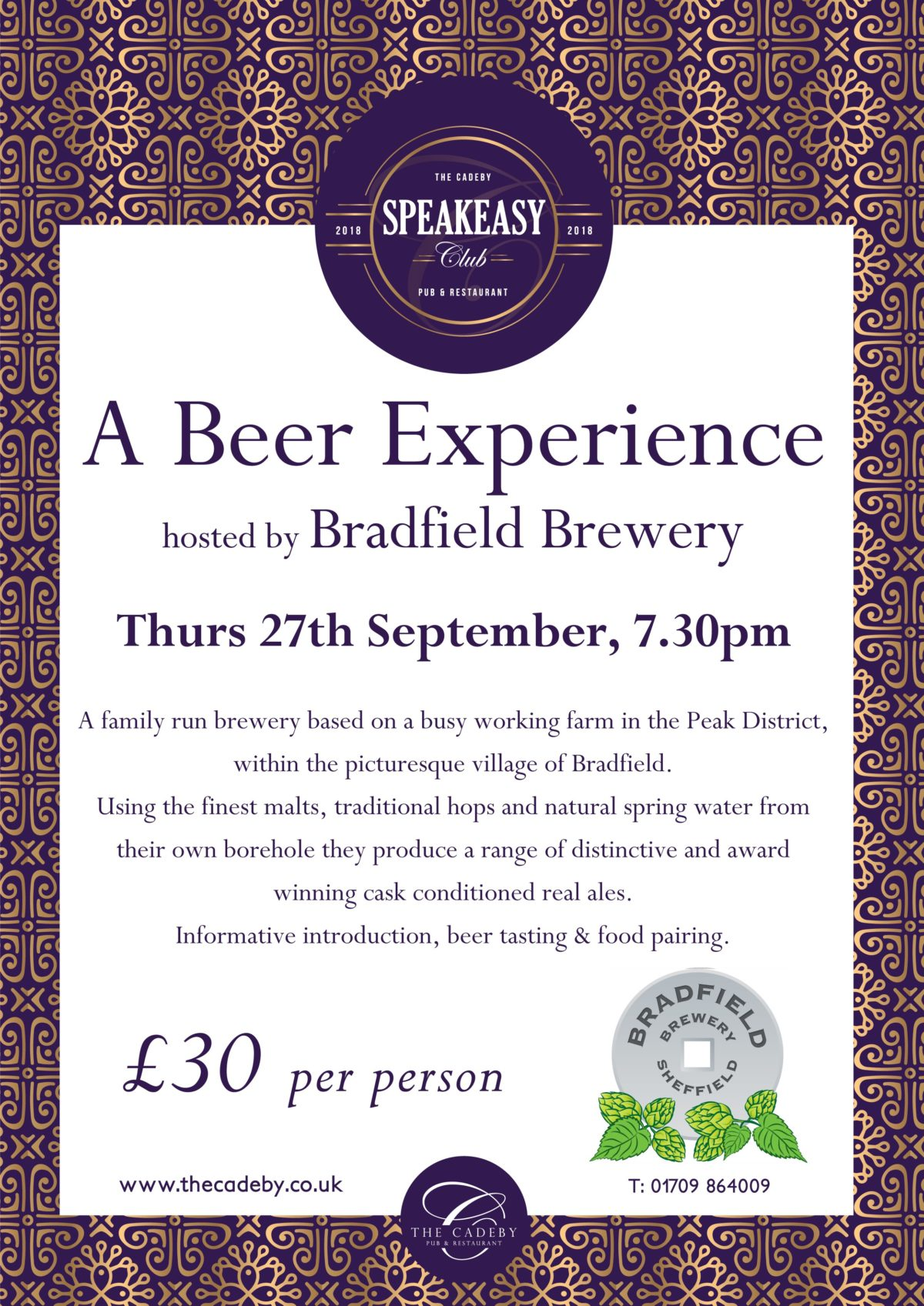 A Beer Experience at The Cadeby with Bradfield Brewery a73f6e9398